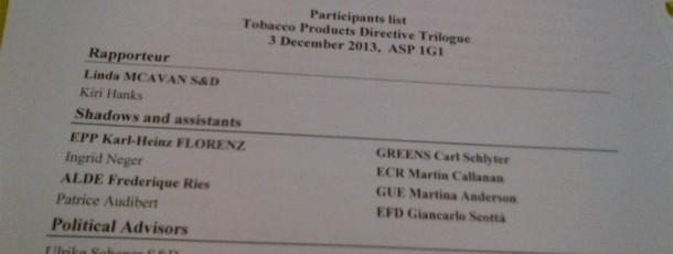 Début du 3ème Trilogue sur la Directive Tabac!