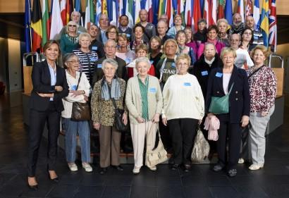 Groupe de visiteurs de David Weytsman et Lucienne Mohin au Parlement européen de Strasbourg